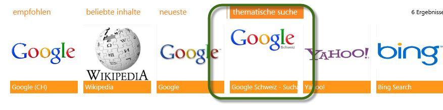 Internet Explorer 10 - Standardsuchmaschine zu Google.ch wechseln