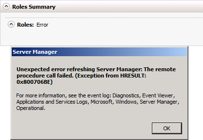 Server Manager Error 0x800706BE